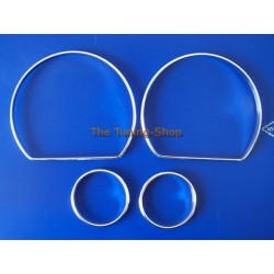 NISSAN 100NX 1991-1996 ALU DIAL RINGS CHROME TRIM SURROUNDS SET NEW