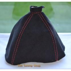 ALFA ROMEO 159 05-11 GEAR GAITER BLACK SUEDE ALCANTARA RED STITCHING