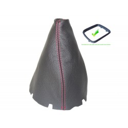 FOR MERCEDES B-CLASS W245 2005-2011 GEAR GAITER WITH PLASTIC FRAME LEATHER RED STITCHING