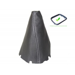 FOR MERCEDES B-CLASS W245 2005-2011 GEAR GAITER WITH PLASTIC FRAME LEATHER WHITE STITCHING