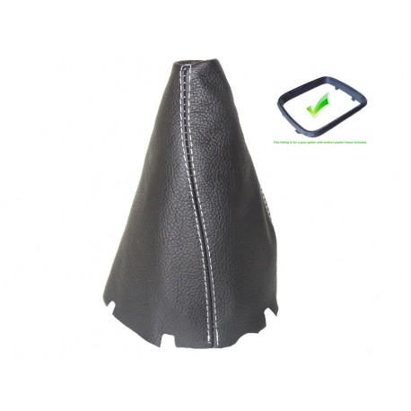FOR MERCEDES B-CLASS W245 2005-2011 GEAR GAITER WITH PLASTIC FRAME LEATHER BLUE STITCHING