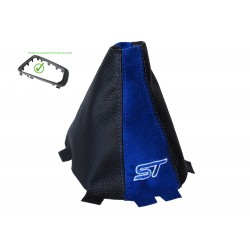 "For Ford Focus MK3 2015-2018 Gear Stick Gaiter Plastic Bottom Frame Leather & Suede ""ST""  Embroidery"