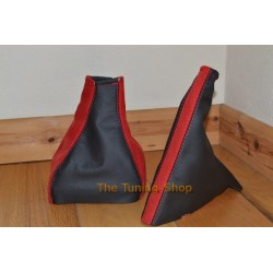 ASTRA MK3 F 91-98 GEAR HANDBRAKE GAITER BLACK LEATHER + RED SUEDE