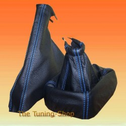 ASTRA MK3 F 91-98 GEAR+HANDBRAKE GAITER BLACK LEATHER BLUE STITC