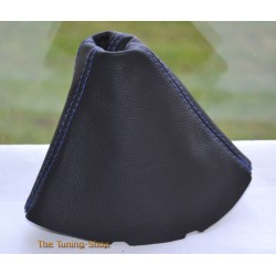 VOLKSWAGEN VW TOURAN DSG 2003-2009 GEAR GAITER BLACK LEATHER BLUE STITCHING