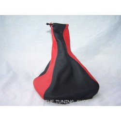VAUXHALL OPEL CORSA B 93-00 GEAR GAITER BLACK & RED LEATHER