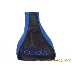 VAUXHALL OPEL CORSA B GAITER BLACK LEATHER BLUE ALCANTARA EMBROIDERED