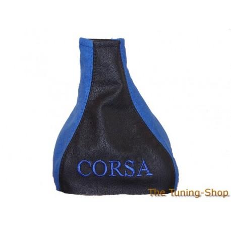 VAUXHALL OPEL CORSA B GAITER BLACK LEATHER BLUE ALCANTARA EMBROIDERED