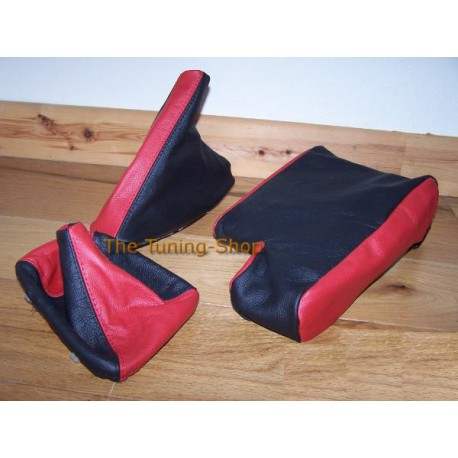 FITS BMW E46 ARMREST COVER GEAR HANDBRAKE GAITER 2 TONE BLACK RED NEW