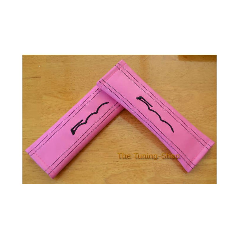 Seat Belt Covers Pink Genuine Leather Embroidery 500 For