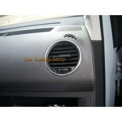 VW CADDY 2003-2010 ALUMINIUM AIR VENTS SURROUNDS CHROME RINGS x 4 NEW