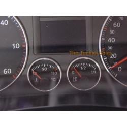 VW GOLF MK5 JETTA TOURAN ALLOY RINGS FOR FUEL & TEMP GAUGES DASH CLOCKS SURROUNDS NEW