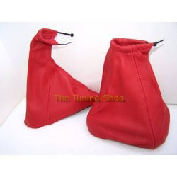 VAUXHALL OPEL TIGRA 94-01 GEAR+HANDBRAKE GAITER RED LEATHER