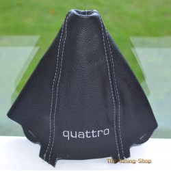 AUDI A4 2001-2004 GEAR GAITER BLACK LEATHER embroidery QUATTRO GREY STITCHING