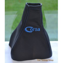 VAUXHALL CORSA C 2000-2006 GEAR GAITER BLACK LEATHER BLUE STITCHING EMBROIDERY CORSA