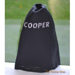 BMW MINI COOPER R55 R56 R57 CLUBMAN GEAR  GAITER BLACK LEATHER GREY STITCHING EMBROIDERY COOPER