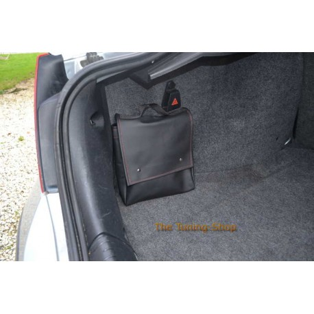 CAR BOOT STORAGE BAG MEDIUM BLACK GENUINE LEATHER RED STITCHING