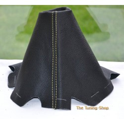 MAZDA 6 2002-2007 BLACK LEATHER GEAR GAITER yellow STITCHING