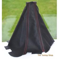 MITSUBISHI L-200 2006-2010 AUTOMATIC HI-LOW GAITER BLACK LEATHER RED STITCHING