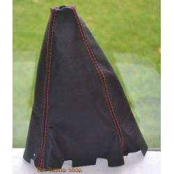 SUBARU FORESTER 97-02 GEAR GAITER BLACK LEATHER RED STITCHING