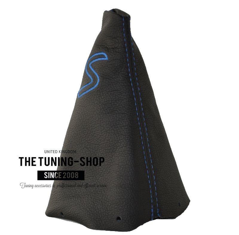 BLUE STITCH LEATHER SHIFT E BRAKE BOOT FOR BMW MINI COOPER R50 R53 S ONE 01-06