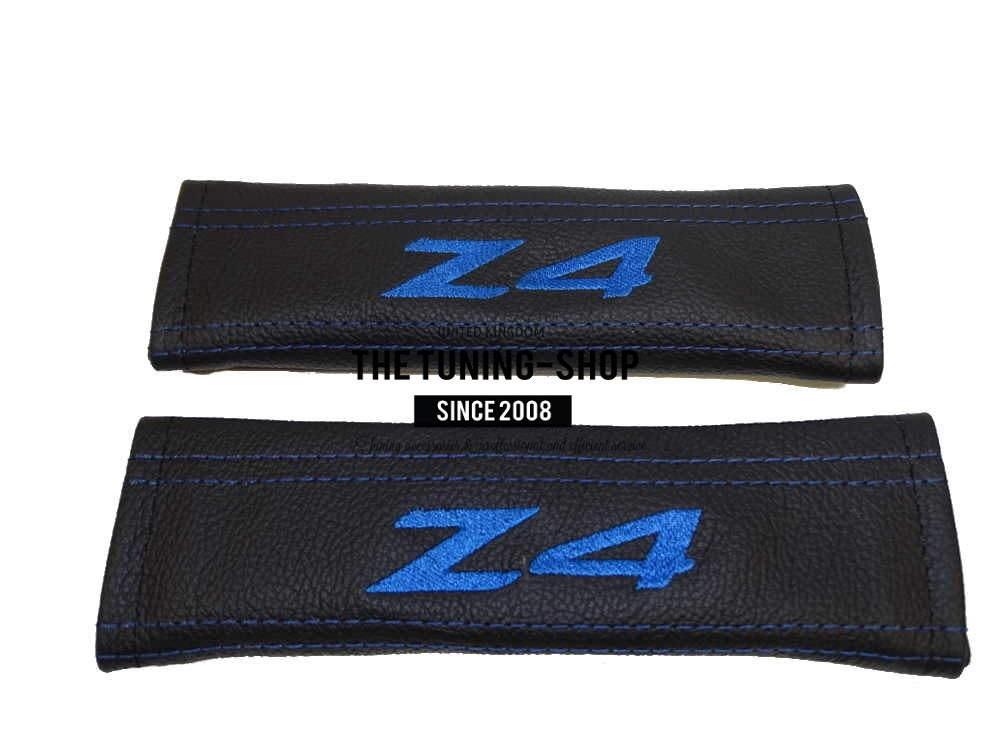 2x Seat Belt Covers Pads Black Leather Quot Z4 Quot Blue
