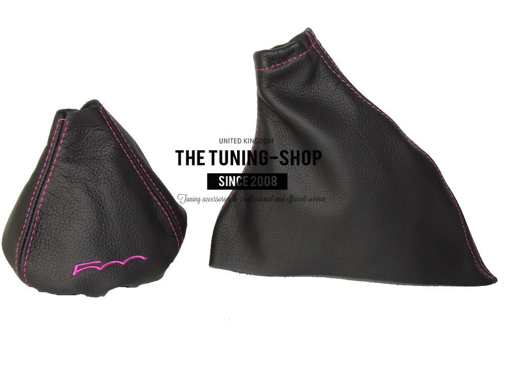 The Tuning-Shop Ltd For Fiat 500 2007-2015 Manual Shift Boot Black Leather With Red 500 Edition