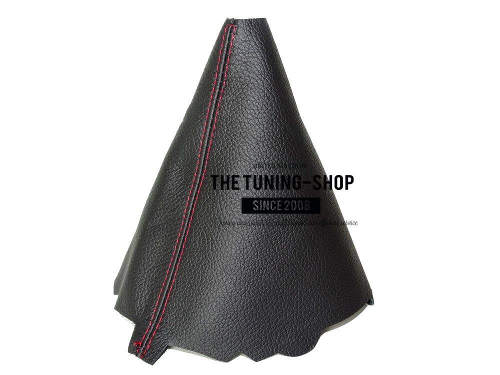 Gear Stick Gaiter Black Genuine Leather Red Stitching