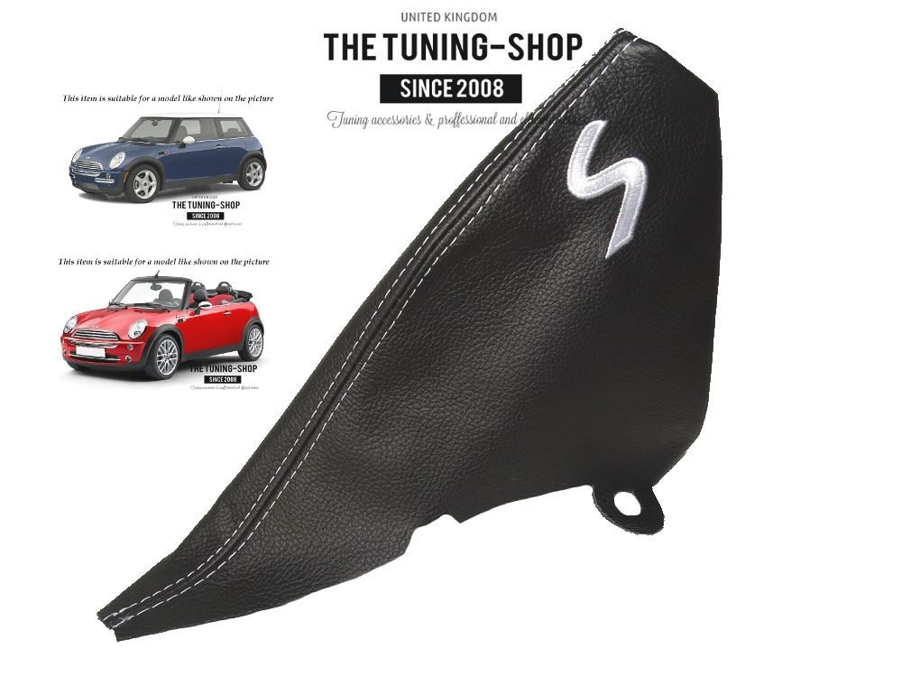 """Für Bmw Mini Cooper S-One R50 R53 01-05 Handbremssack Leder /""""S/"""" Weiss Stickerei"""
