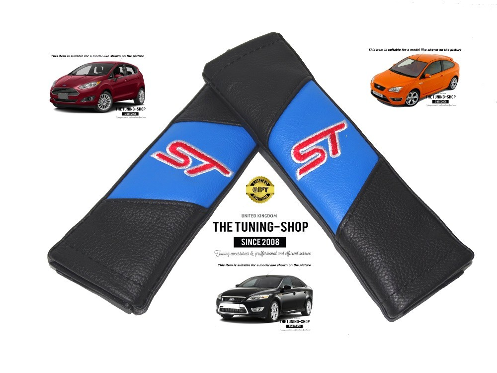 FOR VW TRANSPORTER T5 BLACK REAL GENUINE LEATHER 2X SEAT BELT COVERS PADS BLUE