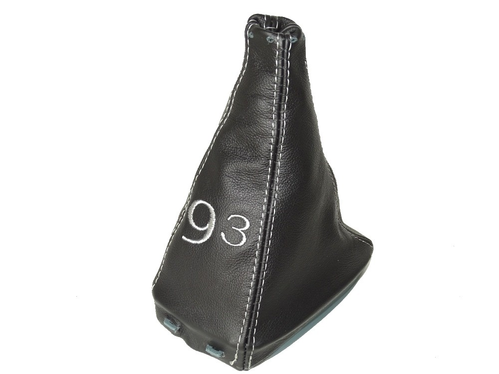 The Tuning-Shop GEAR GAITER LEATHER WITH PLASTIC FRAME GREY 93 EMBROIDERY