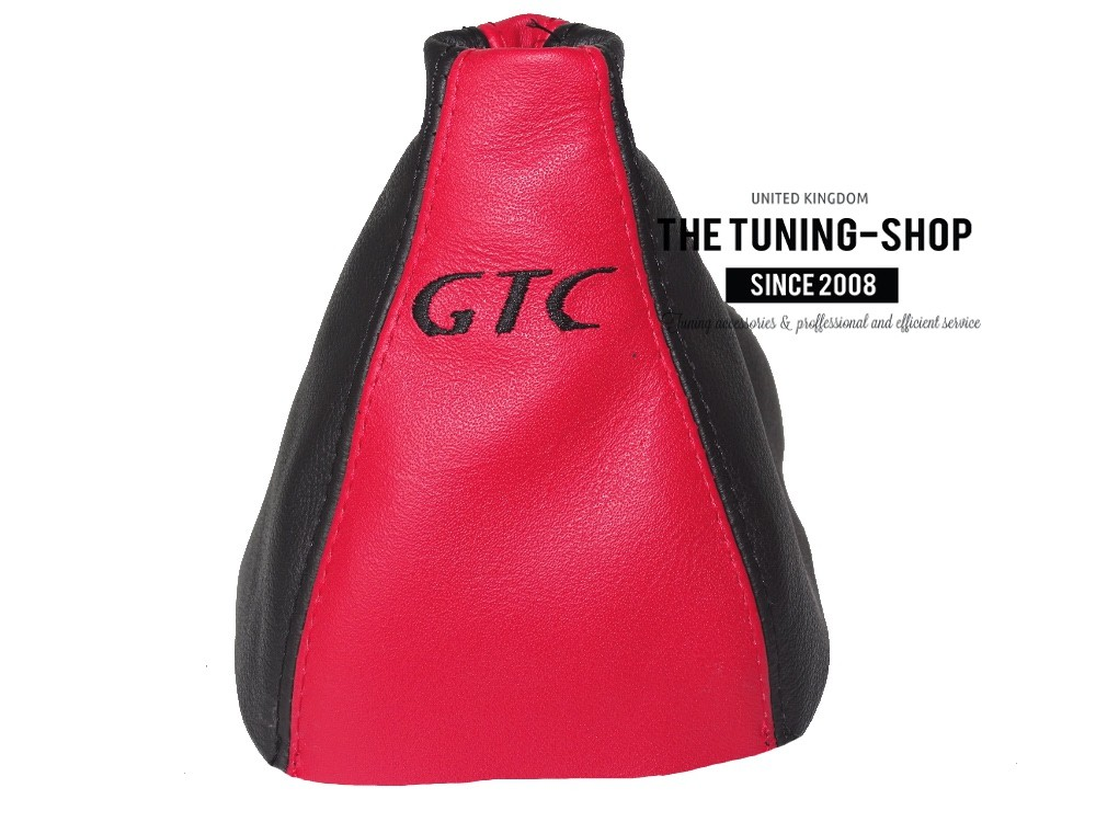 Gear Stick Gaiter Black Genuine Leather Red GTC Embroidery